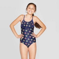 "Girls' ""With All My Hearts"" One Piece Swimsuit - Cat & Jack™ Navy"