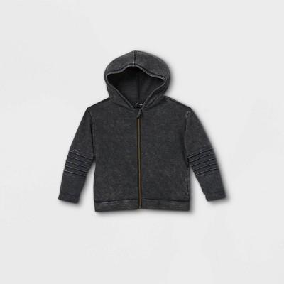 Toddler Boys' Zip-Up Moto Sweatshirt - art class™ Washed Black