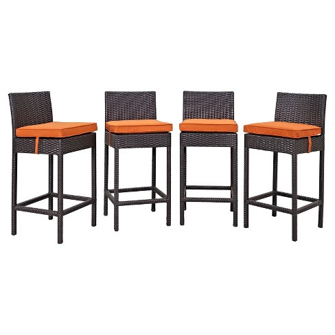 Convene 4pc All-Weather Wicker Patio Dining Chairs - Espresso/Orange - Modway - image 1 of 2
