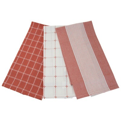 Set of 3 Red Check Pattern 27 x 18 Inch Woven Kitchen Tea Towels - Foreside Home & Garden