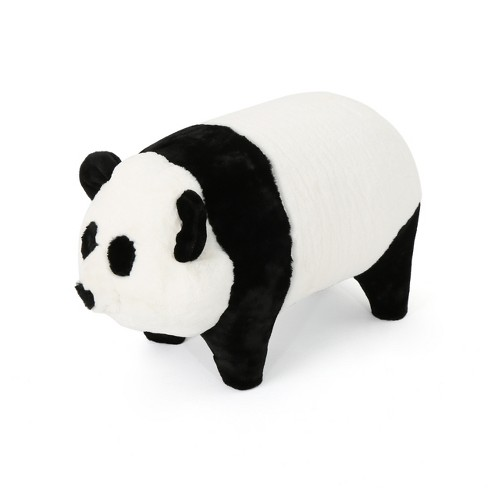 Jotham Kid's Faux Fur Panda Ottoman White and Black - Christopher Knight Home - image 1 of 4