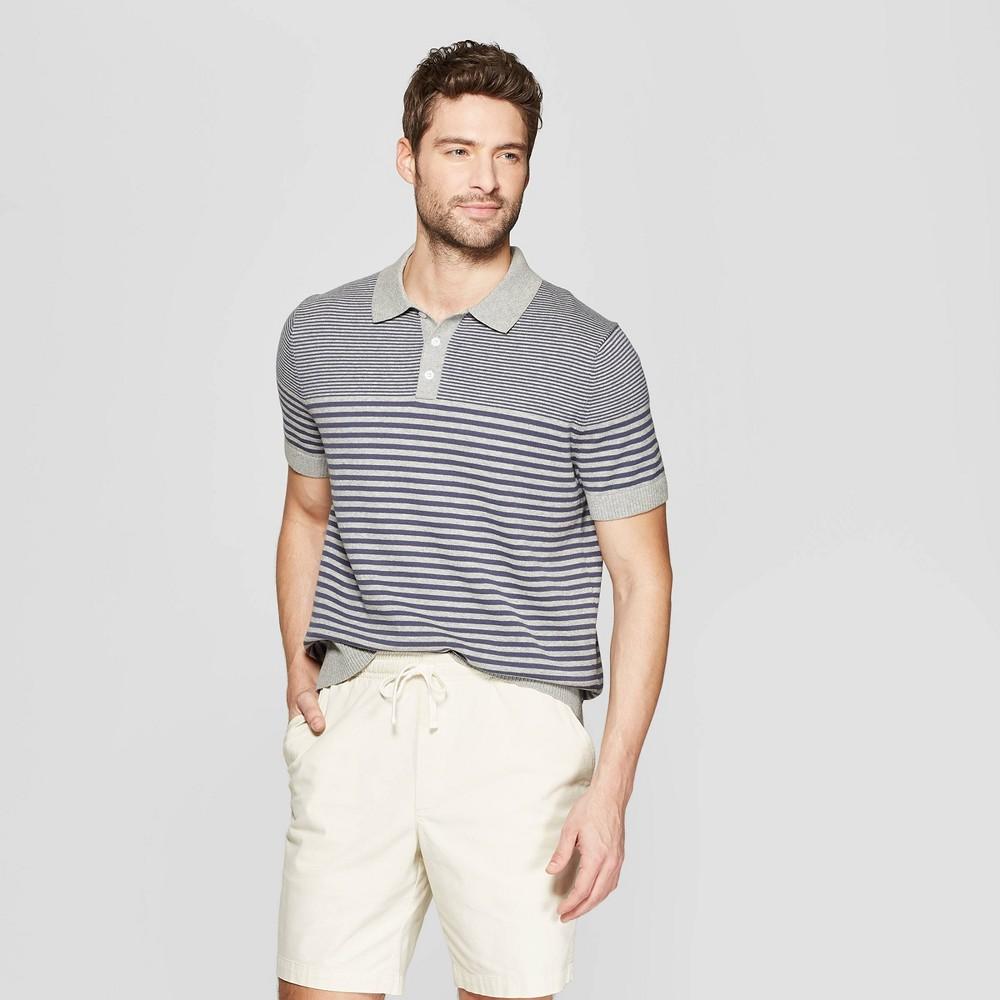 Men's Striped Standard Fit Short Sleeve Sweater Polo Shirt - Goodfellow & Co Gray M