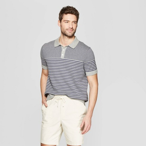 Men's Striped Standard Fit Short Sleeve Polo Shirt - Goodfellow & Co™ - image 1 of 3