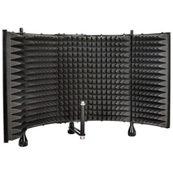 Monoprice Microphone Isolation Shield - Black - Foldable with 3/8 inch Mic Threaded Mount, High Density Absorbing Foam Front And Vented Metal Back