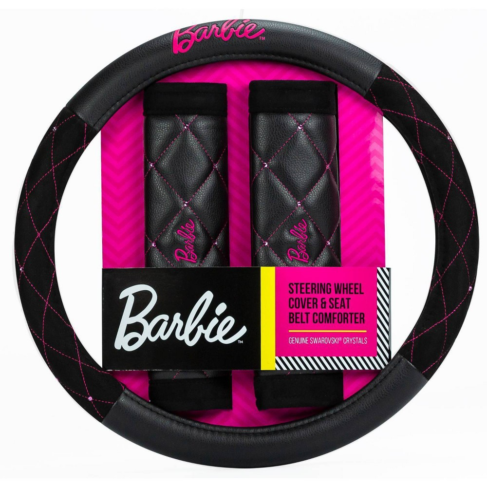 Barbie Diamond Combo Kit Steering Wheel Cover And 2 Seat Belt Shoulder Pads Pink