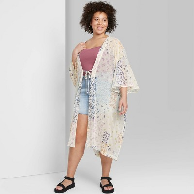 Women's Plus Floral Print Duster Wild Fable™ - Cream One Size