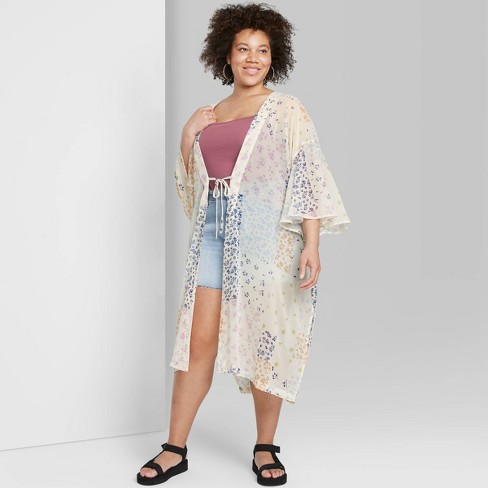 Women's Floral Print Duster Wild Fable™ - Cream - image 1 of 3