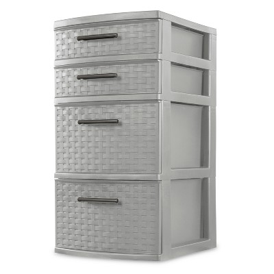 Sterilite Medium 4 Drawer Weave Tower Cement Gray