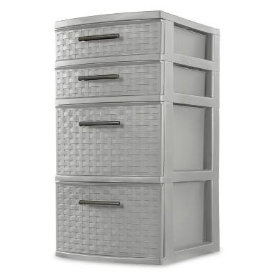 Sterilite Medium 4 Drawer Weave Tower Cement Gray