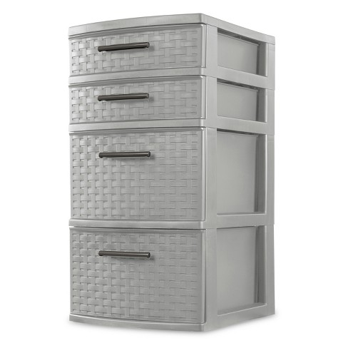 Sterilite Medium 4 Drawer Weave Tower Cement Gray - image 1 of 3