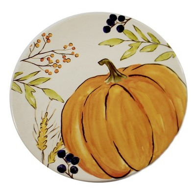 "Tabletop 12.0"" Thankful Harvest Plate Pumpkin Thanksgiving Burton & Burton  -  Dining Plates"