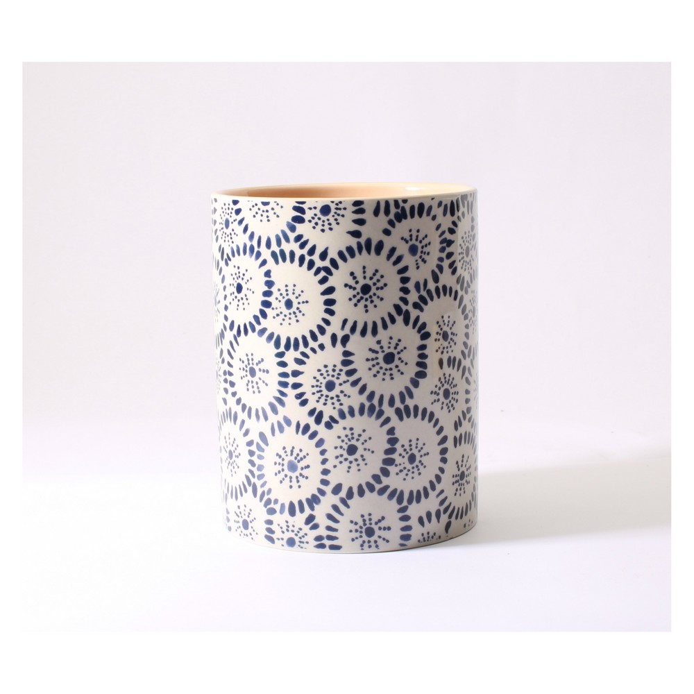 Image of Ceramic Container Candle Sheer Petals 15oz - Happy Place, Blue