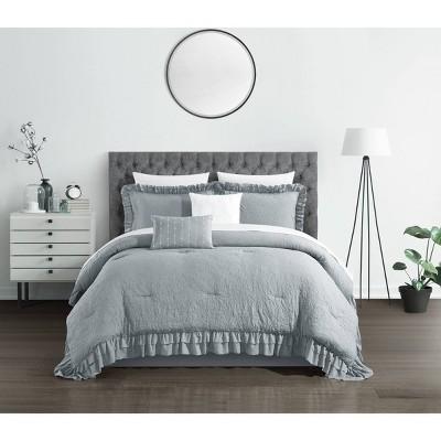 King 5pc Kaci Comforter Set Gray - Chic Home Design