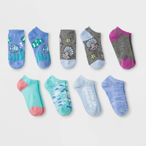 Girls' 7pk Mermaid Socks - Cat & Jack™ Aqua - image 1 of 1