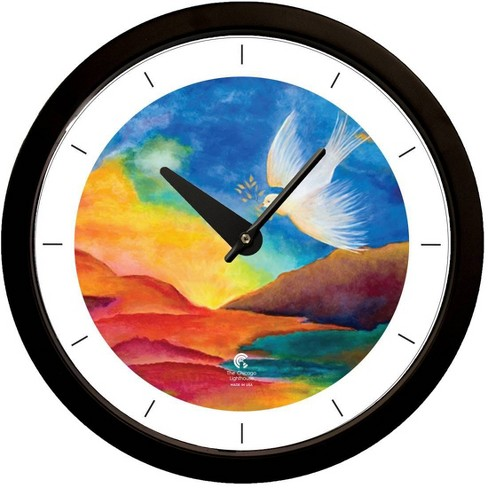 "14.5"" Artist Series Jackie Olenick Shalom Landscape Decorative Clock Black - The Chicago Lighthouse - image 1 of 3"