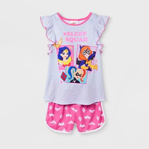 4c5fe7759a46 Girls' DC Super Hero Girls 2pc Pajama Set With Shorts - Gray/Pink ...