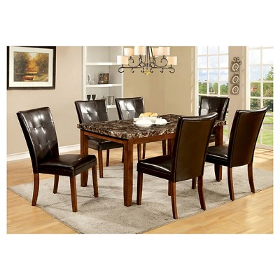 Gentil IoHomes 7pc Faux Marble Dining Table Set Wood/Antique Oak : Target