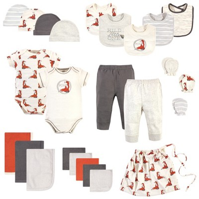 Touched by Nature Baby Boy Organic Cotton Layette Set and Giftset, Boho Fox, 0-6 Months