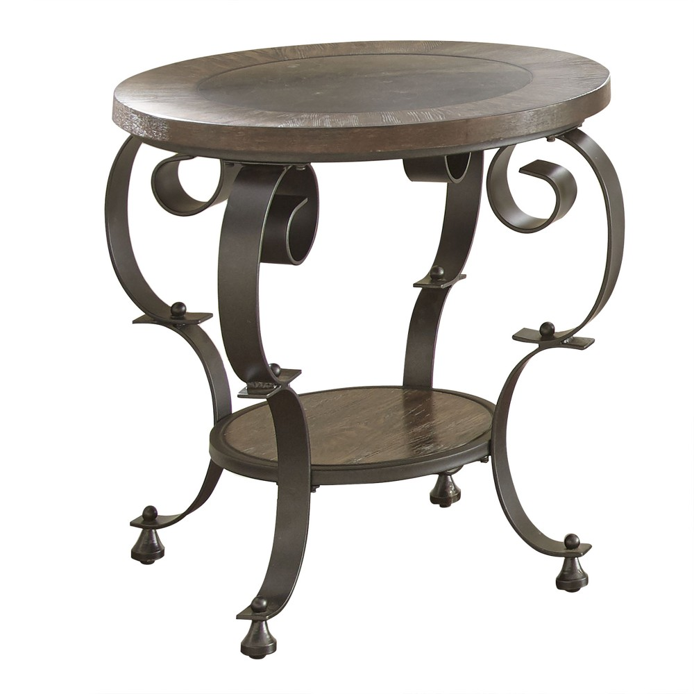 Mulberry Round End Table Distressed Wood and Metal - Steve Silver