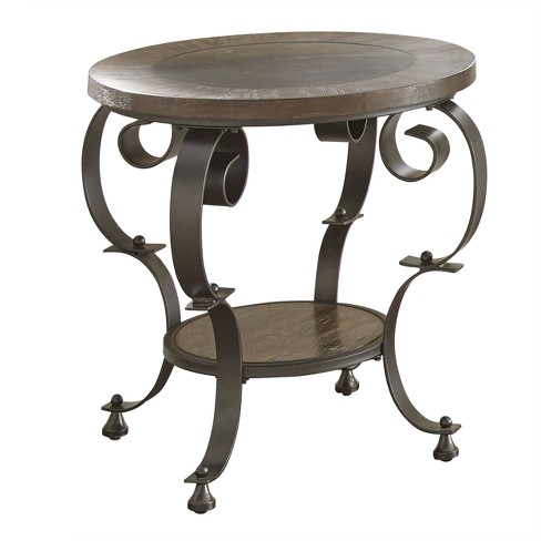 Mulberry Round End Table Distressed Wood And Metal Steve Silver
