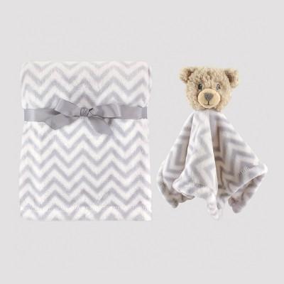 Hudson Baby Plush Blanket and Animal Security Blanket Set - Gray Bear