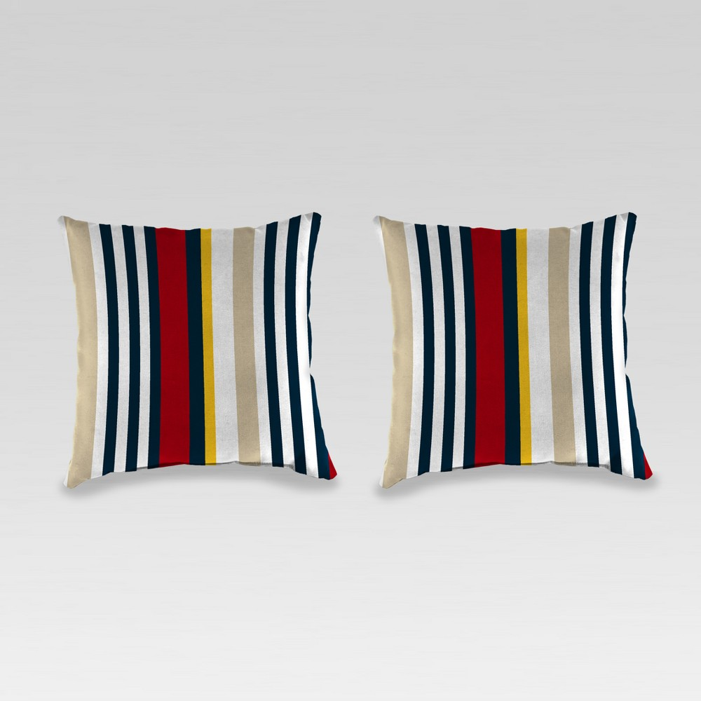 Outdoor Set of 2 Accessory Toss Pillows - Red/Cream (Red/Ivory) - Jordan Manufacturing