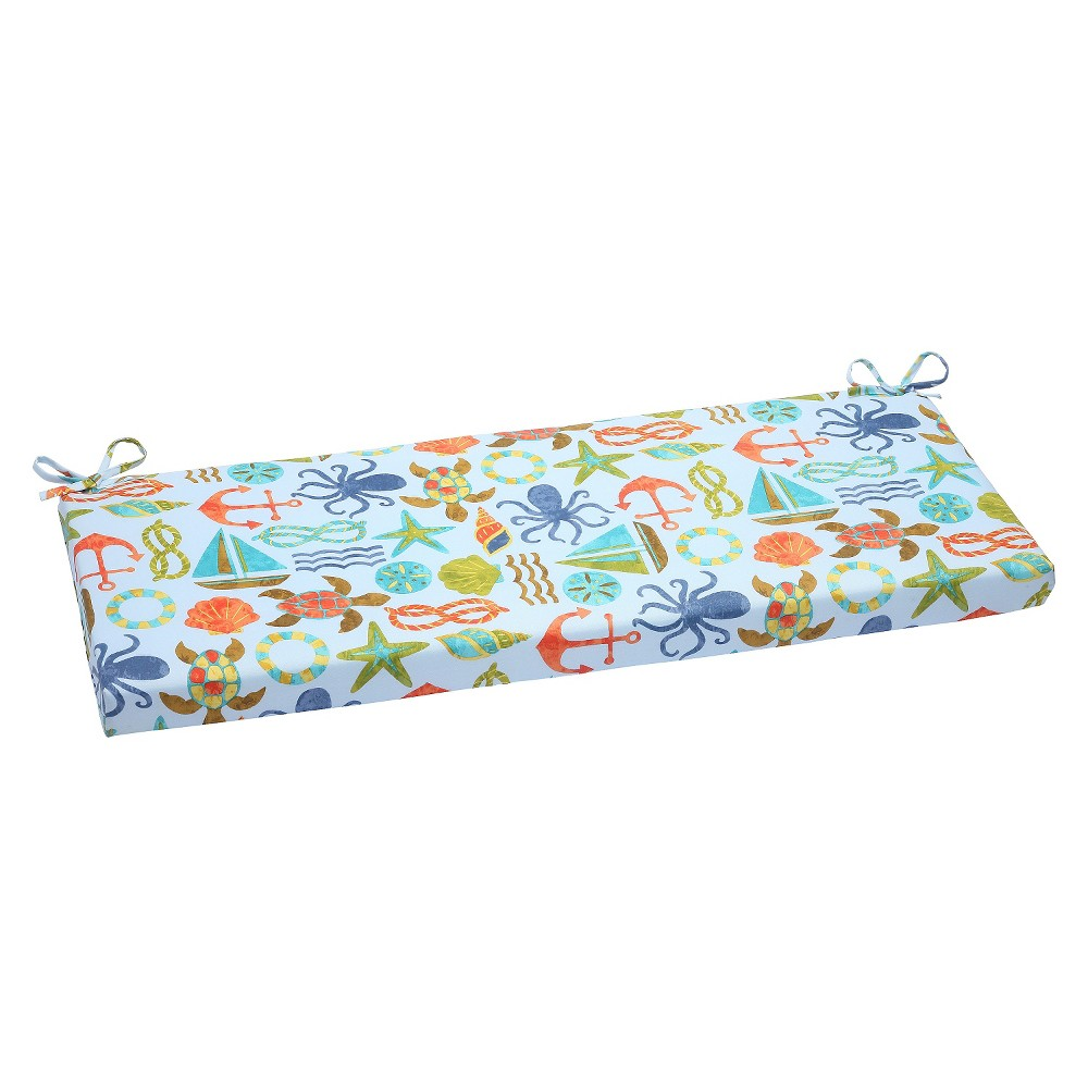 Pillow Perfect Seapoint Outdoor Bench Cushion - Blue, Blue/Orange Smoothie