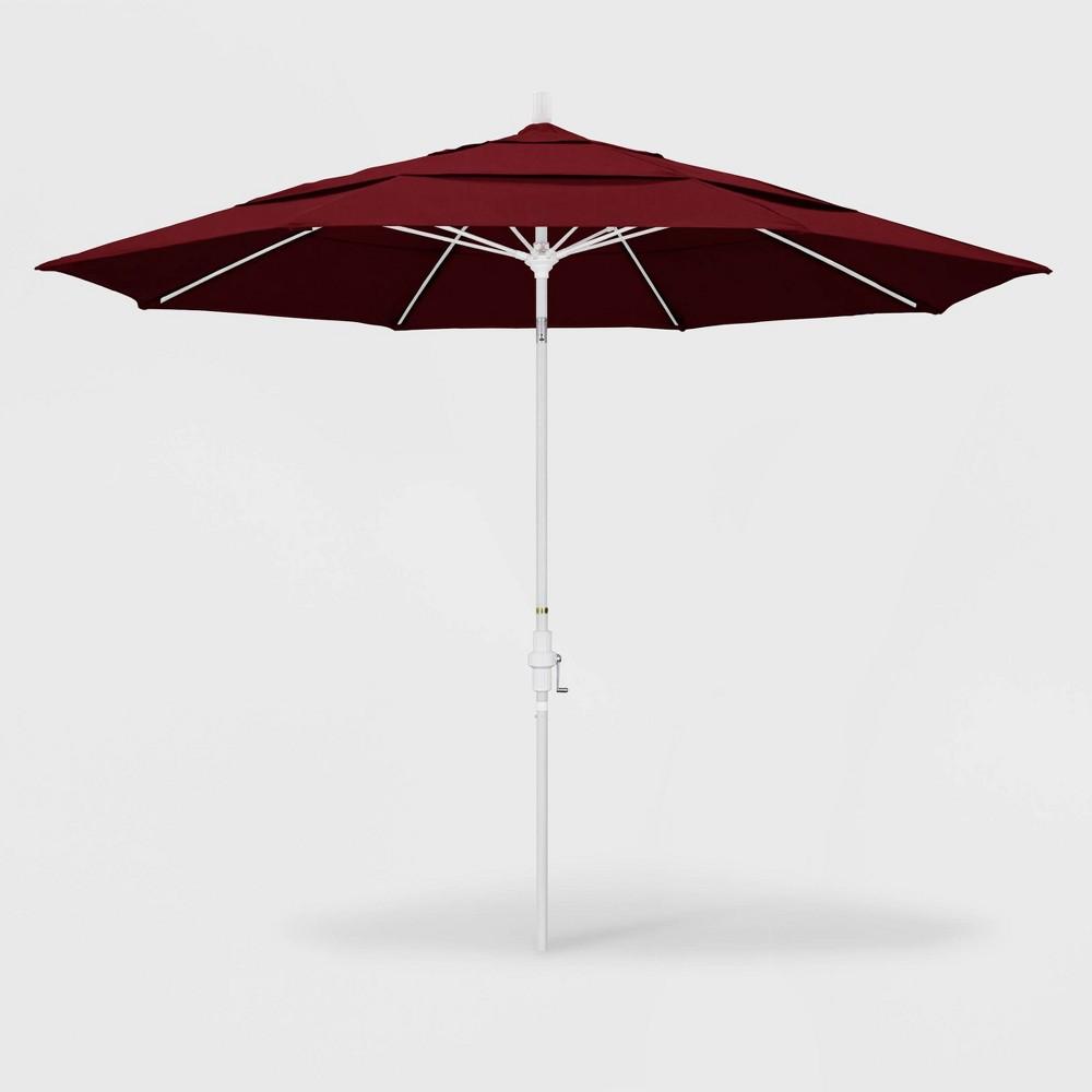 Image of 11' Sun Master Patio Umbrella Collar Tilt Crank Lift - Sunbrella Spectrum Ruby - California Umbrella