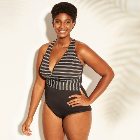 Women s Plus Size X-Back One Piece Swimsuit - Clean Water Black White Stripe