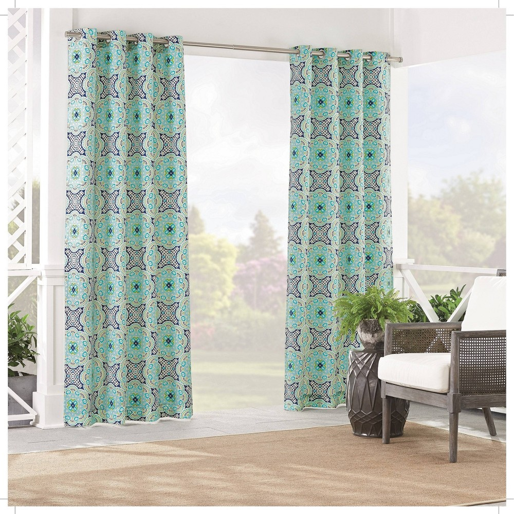 """Image of """"84""""""""x52"""""""" Astrid Light Filtering Curtain Panel Blue - Waverly Sun n Shade"""""""
