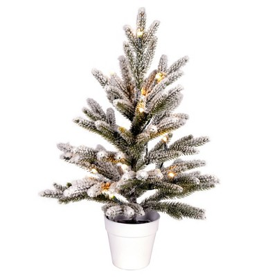 """Vickerman 18"""" x 12"""" Flocked Mica Pine Artificial Christmas Tree, Battery Operated Warm White LED Lights"""