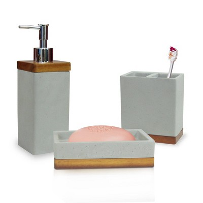 3pc Concrete Stone Bath Accessory Set for Vanity Counter Tops Gray - Nu Steel