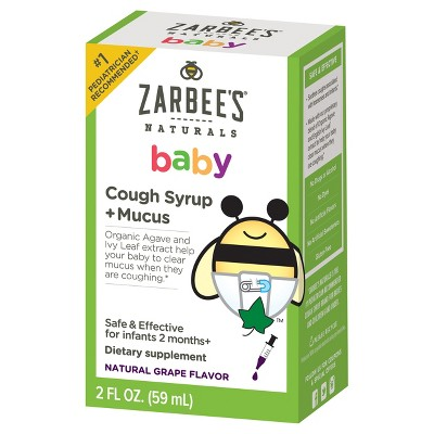 Zarbee's Naturals Baby Cough Syrup & Mucus Reducer Liquid - Agave Syrup - Grape - 2 fl oz
