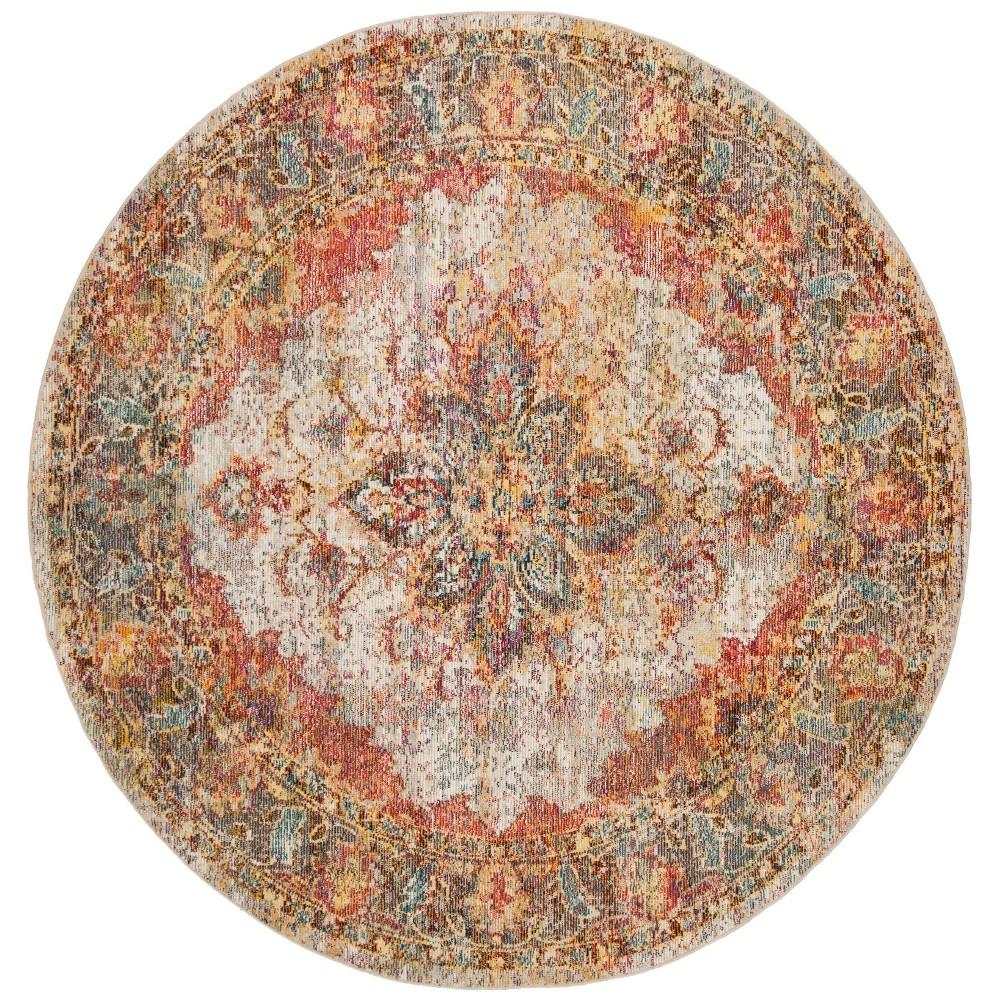 7' Medallion Loomed Round Area Rug Cream/Rose (Ivory/Pink) - Safavieh