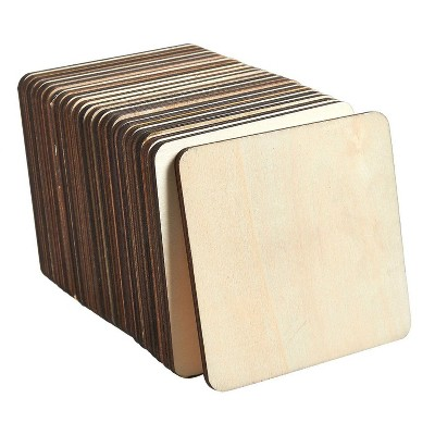 Wood Coasters - 24-Pack Square Wooden Drink Coasters, Unfinished Wood Cup Coasters for Home Kitchen, Office Desk, 3.875 x 3.875 x 0.188 inches