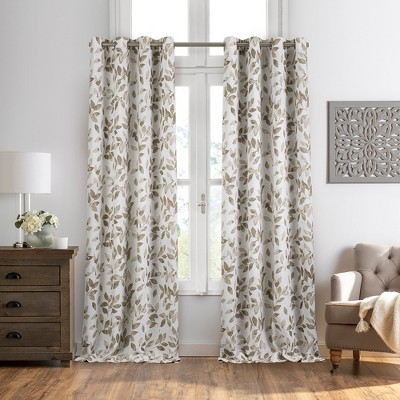 Avalon Botanical Floral Leaf Print Cottagecore Blackout Window Curtain Panel - Elrene Home Fashions