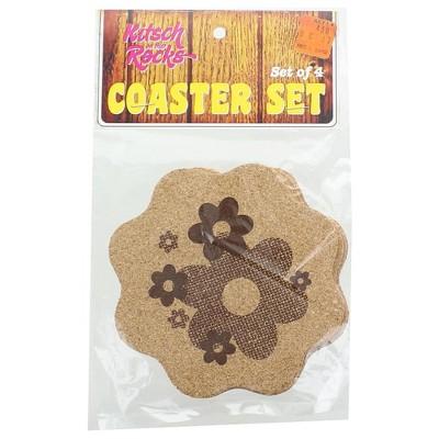 Crowded Coop, LLC Kitsch on the Rocks Retro Cork Coaster Set - Daisy - Set of 4