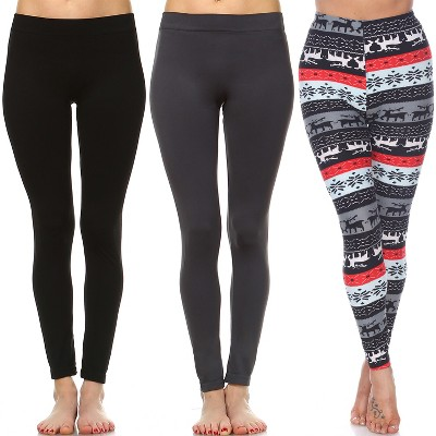 Women's Pack of 3 Leggings - One Size Fits Most - White Mark
