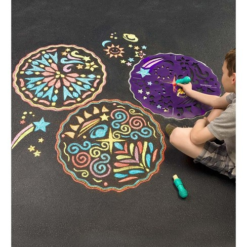 Set of 2 ChalkScapes Mandalas - Stencils for Kids Chalk Play - HearthSong - image 1 of 2