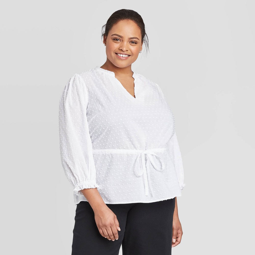 Women's Plus Size 3/4 Sleeve Tie Waist Blouse - A New Day White 4X was $24.99 now $17.49 (30.0% off)