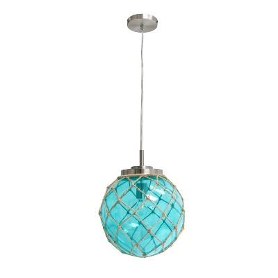 Buoy Netted Coastal Ocean Sea Glass Pendant with Natural Rope Aqua - Elegant Designs