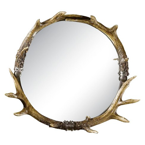 Round Stag Horn Decorative Wall Mirror - Uttermost : Target