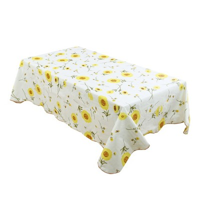 """41""""x60"""" Rectangle Vinyl Water Oil Resistant Printed Tablecloths Yellow Sunflower - PiccoCasa"""