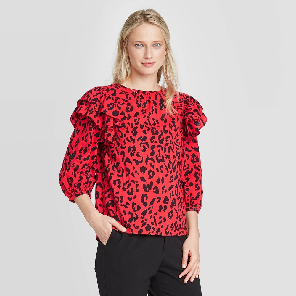 Women's Leopard Print 3/4 Sleeve Blouse - Who What Wear Red XS, Women's was $29.99 now $20.99 (30.0% off)