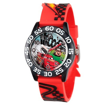 Boys' Disney Cars Lightning McQueen and Mater Black Plastic Time Teacher with 3D Strap Watch- Red