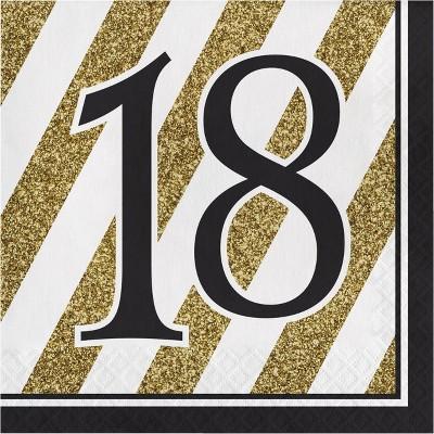 48ct Happy 18th Birthday Napkins Black