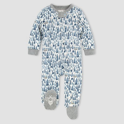 Burt's Bees Baby® Baby Boys' Organic Cotton Cozy Pine Cabin Sleep N' Play - Gray 0-3M