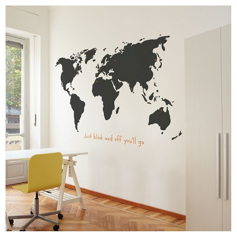 World Wall Decal Charcoal Target