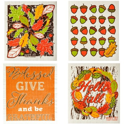 "Swedish Dish Cloth 7.75"" Thanksgiving Fall Set / 4 Dishcloth Kitchen Clean Up  -  Dish Cloth"
