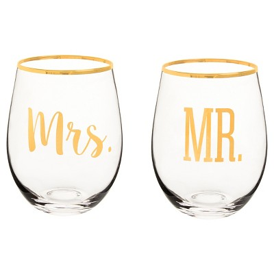 2ct  Mr. & Mrs.  Gold Rim Stemless Wine Glasses